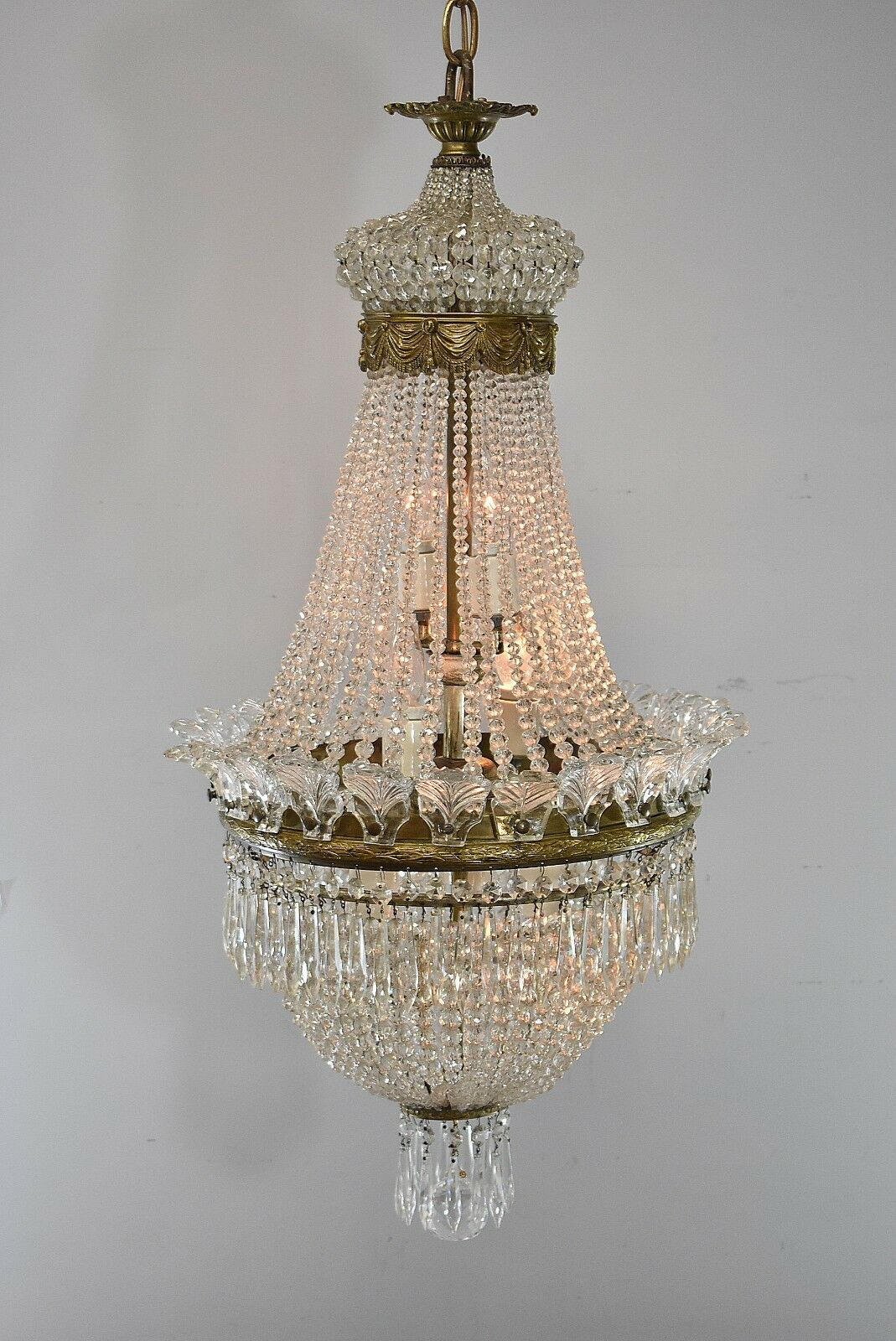 Antique-French-Style-Crystal-Chandelier-Light-Fixture-with- - Antique French Style Crystal Chandelier Light Fixture With Bronze
