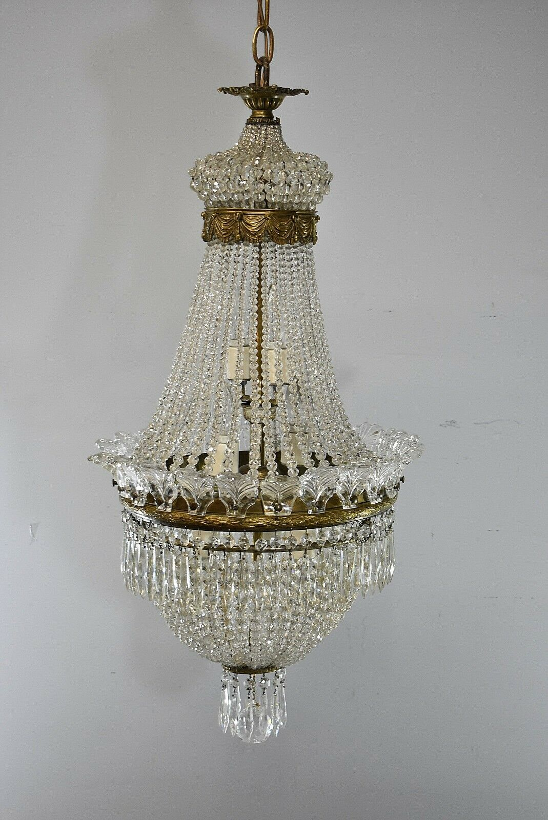 Antique French Style Crystal Chandelier Light Fixture With