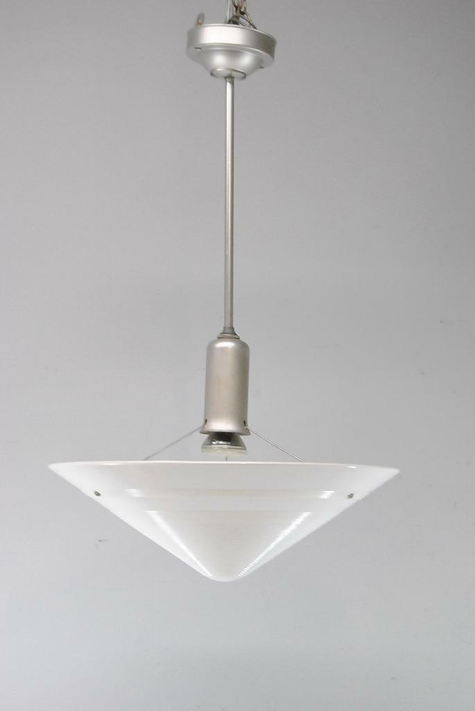 MODERN CONICAL FORM GLASS 1960\'S SINGLE SOCKET CHANDELIER LIGHT ...