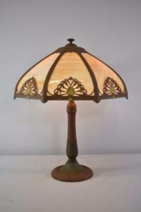 Antique-Bent-Slag-Glass-8-Panel-Table-Lamp-Two-Sockets-A-7-R-Co-263234513961-2