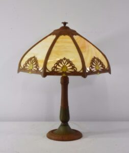 Antique-Bent-Slag-Glass-8-Panel-Table-Lamp-Two-Sockets-A-7-R-Co-263234513961