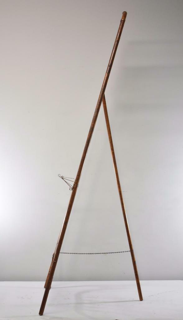 antique victorian stick ball floor display easel with brass