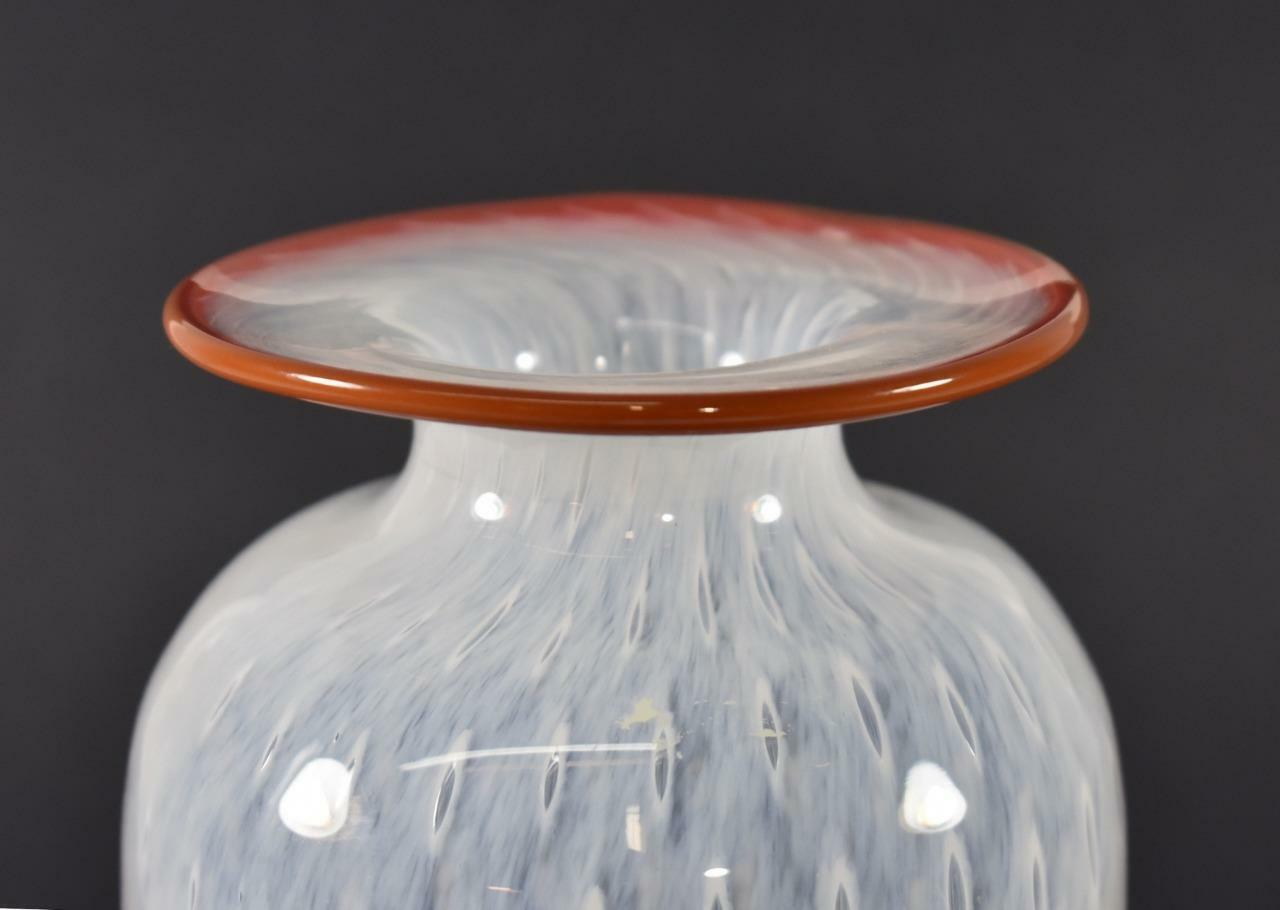 Kosta Boda 8 Quot White With Red Rim Controlled Bubble Vase By