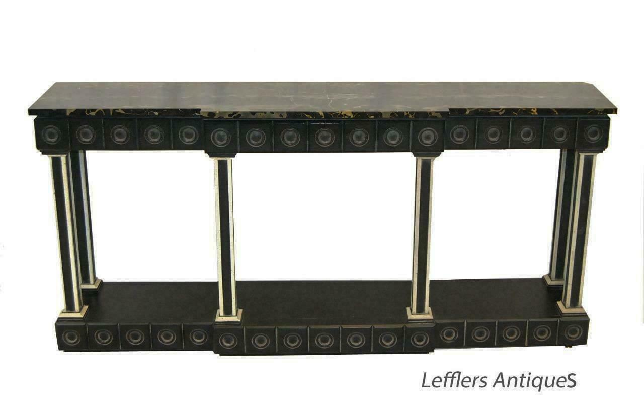 Marble Top Hollywood Regency Neoclassic Entry Console Table