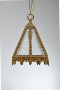 SINGLE-SOCKET-BRASS-PORCH-LIGHT-LANTERN-WITH-GLUE-CHIP-GLASS-SHADE-262878150252-5