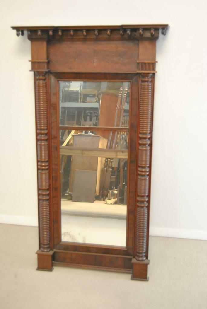Antique American Federal Style Flamed Mahogany Mirror 49