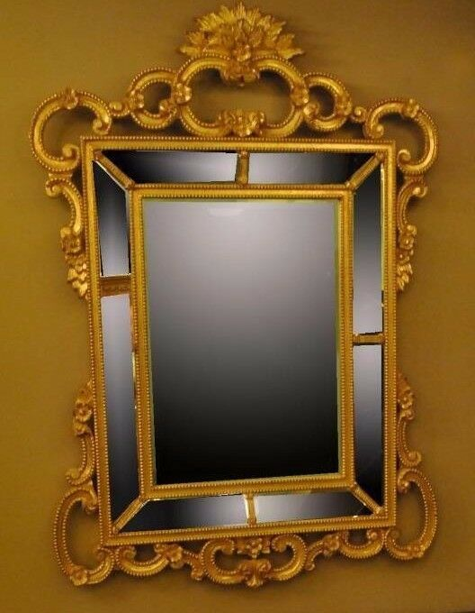 HAND CARVED WOOD GOLD ITALIAN BEVELED MIRROR | Leffler\'s Antiques