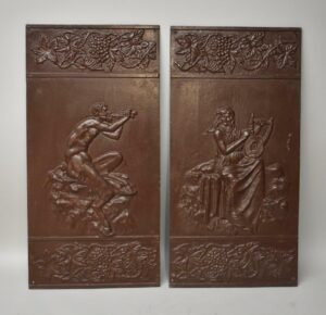 Antique-Victorian-Pair-Iron-Wall-Panels-Pan-With-Flute-Grape-Vine-Buschemeye-NY-192517597864