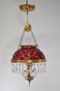 Antique-Kerosene-Hanging-Light-Cranberry-Bullseye-Shade-Cut-Crystals-Blue-Jewels-192580166845-2
