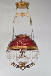 Antique-Kerosene-Hanging-Light-Cranberry-Bullseye-Shade-Cut-Crystals-Blue-Jewels-192580166845