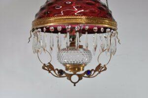 Antique-Kerosene-Hanging-Light-Cranberry-Bullseye-Shade-Cut-Crystals-Blue-Jewels-192580166845-4