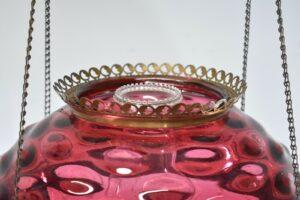 Antique-Kerosene-Hanging-Light-Cranberry-Bullseye-Shade-Cut-Crystals-Blue-Jewels-192580166845-6