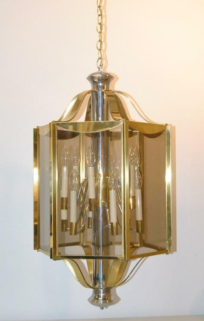 BRASS & CHROME 6 PANEL 12 LIGHT CHANDELIER LIGHT FIXTURE BY ...
