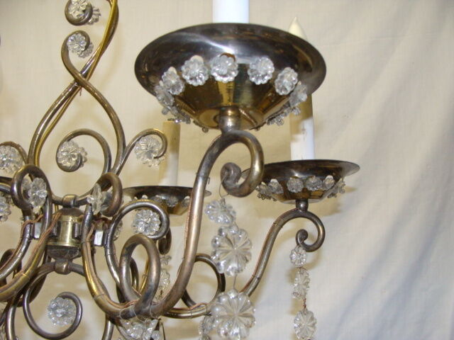 Vintage Italian Brass and Glass Chandelier Light Fixture – Brass and Glass Chandelier