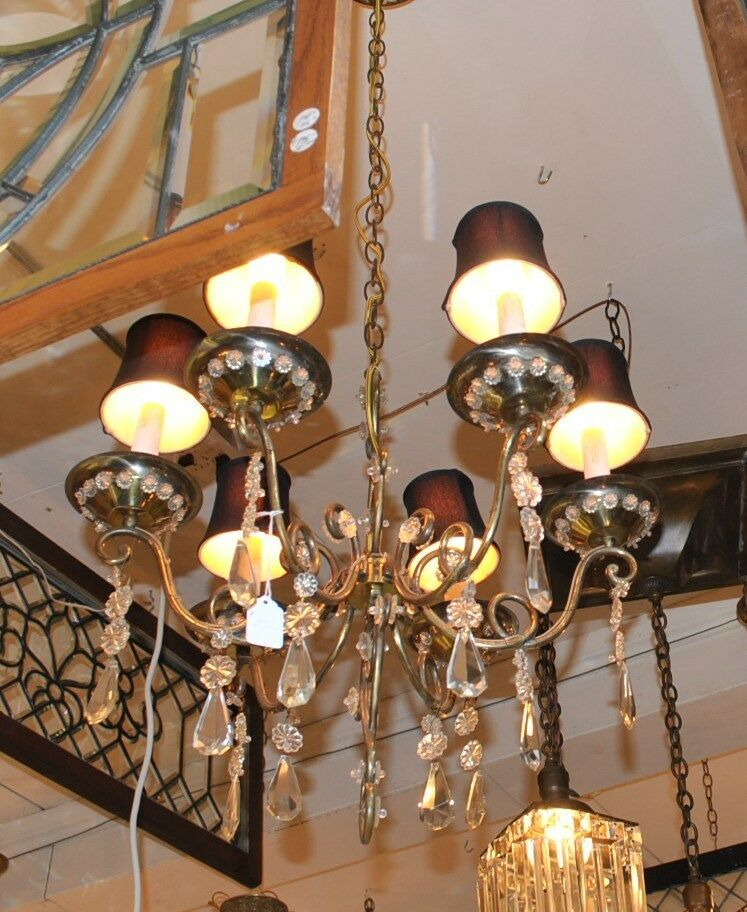 Vintage Italian Brass And Glass Chandelier Light Fixture Lefflers - Italian light fixtures
