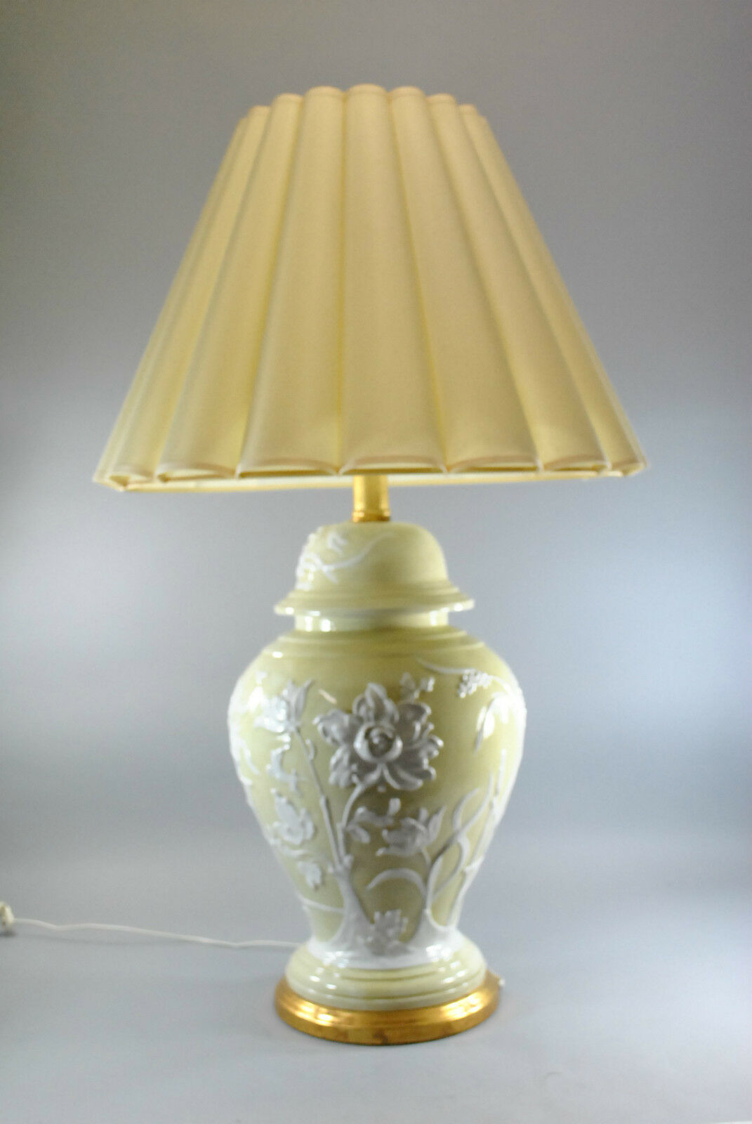 Vintage Oversized Ceramic Lamp In Pale Gold With