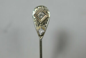Antique-Art-Deco-Marked-18k-White-Gold-and-Diamond-Stick-Pin-Lapel-261508719097