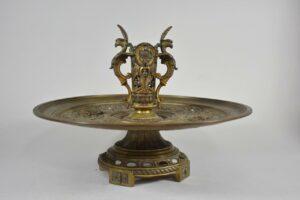 Antique-Victorian-Compote-Etched-Cut-Gass-Cast-Bronze-Lion-Heads-Angels-1880s-263654167477-8