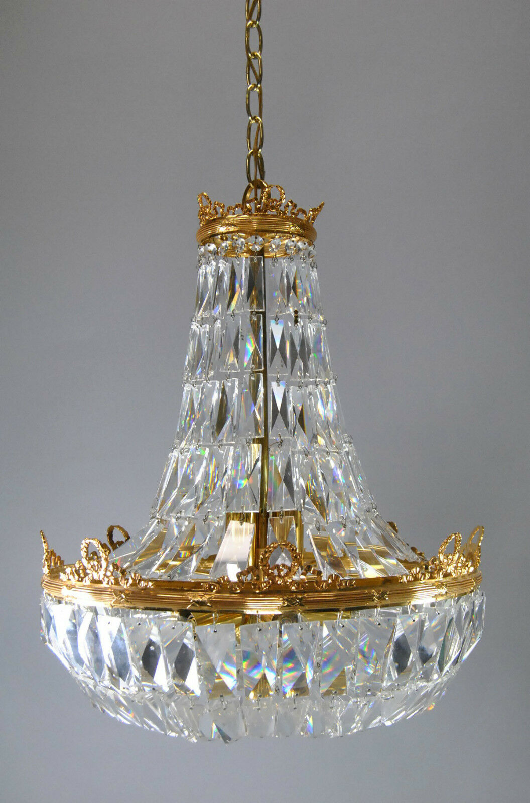french basket form crystal chandelier with brass frame