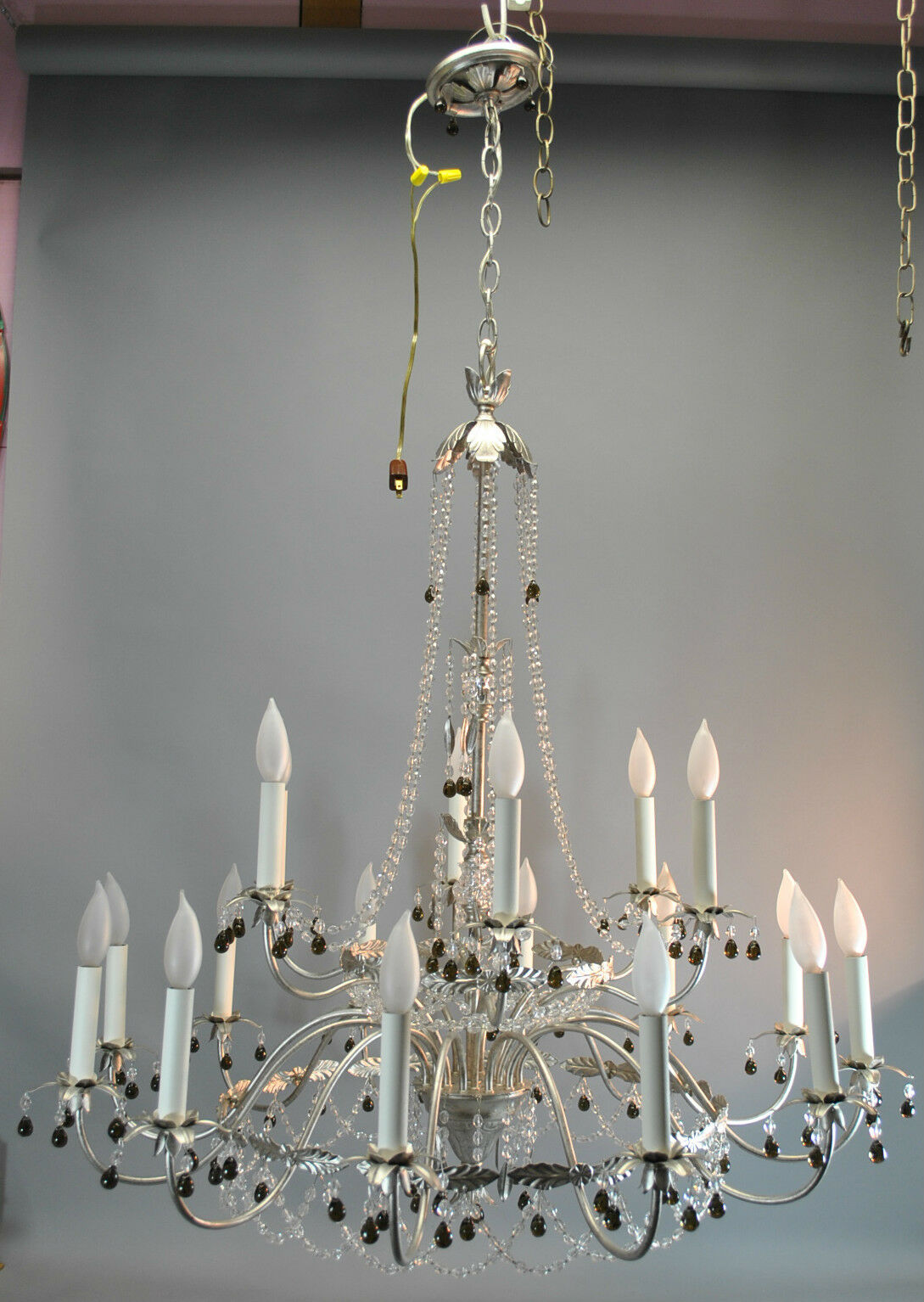 Silver and Crystal Chandelier Light Fixture with