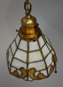 Antique-Leaded-Slag-Glass-Brass-Single-Socket-Porch-Hall-Pendant-263400715988-5