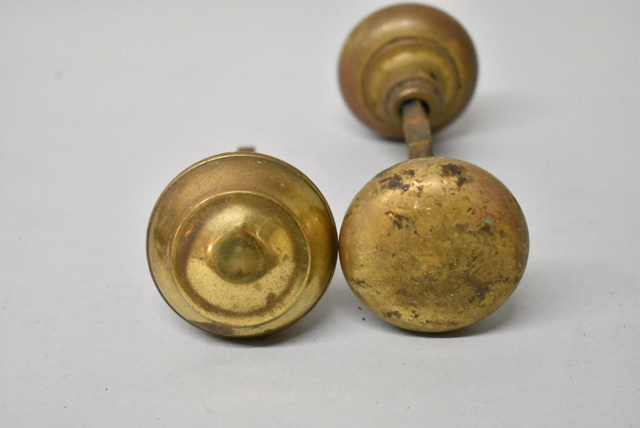 Group-Antique-Brass-Door-Knobs-Handles-Parts-262990287938- - Group Antique Brass Door Knobs / Handles Parts Leffler's Antiques