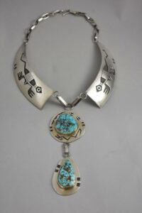 Sterling-Silver-Turquoise-Hopi-Collar-Necklace-By-Bueford-Dawahoya-192628224048