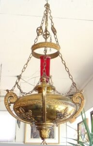 Antique-Gothic-Revival-Cathedral-Hanging-Brass-Candle-Holder-261810735209