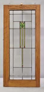 ARTS-CRAFTS-PRAIRIE-SCHOOL-STAINED-GLASS-WINDOW-GREEN-YELLOW-ORANGE-CLEAR-192277417831