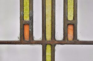 ARTS-CRAFTS-PRAIRIE-SCHOOL-STAINED-GLASS-WINDOW-GREEN-YELLOW-ORANGE-CLEAR-192277417831-2
