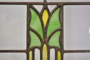 ARTS-CRAFTS-PRAIRIE-SCHOOL-STAINED-GLASS-WINDOW-GREEN-YELLOW-ORANGE-CLEAR-192277417831-4