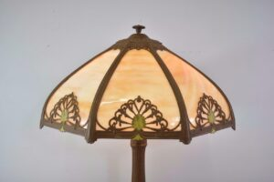 Antique-Bent-Slag-Glass-8-Panel-Table-Lamp-Two-Sockets-A-7-R-Co-263234513961-3