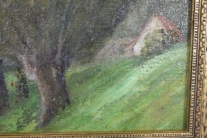 Antique-19th-Century-Original-Oil-On-Canvas-On-Board-Painting-Woodland-Cottage-192535554813-2