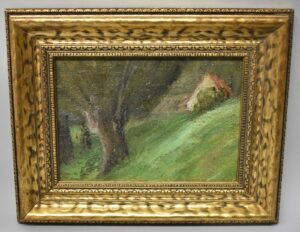Antique-19th-Century-Original-Oil-On-Canvas-On-Board-Painting-Woodland-Cottage-192535554813
