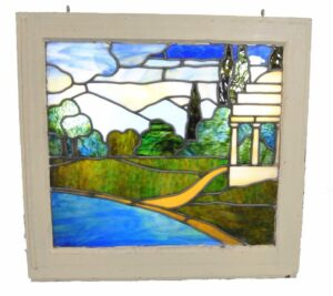 Antique-Framed-Stained-Glass-Window-Landscape-Scene-With-Gazebo-262582280414
