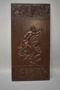 Antique-Victorian-Pair-Iron-Wall-Panels-Pan-With-Flute-Grape-Vine-Buschemeye-NY-192517597864-2