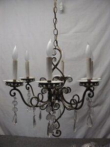 Vintage-Italian-Brass-and-Glass-Chandelier-Light-Fixture-192043947285