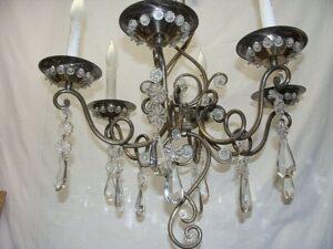 Vintage-Italian-Brass-and-Glass-Chandelier-Light-Fixture-192043947285-3