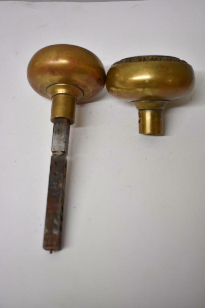 Pair Of Antique Victorian Brass Door Knobs Handles