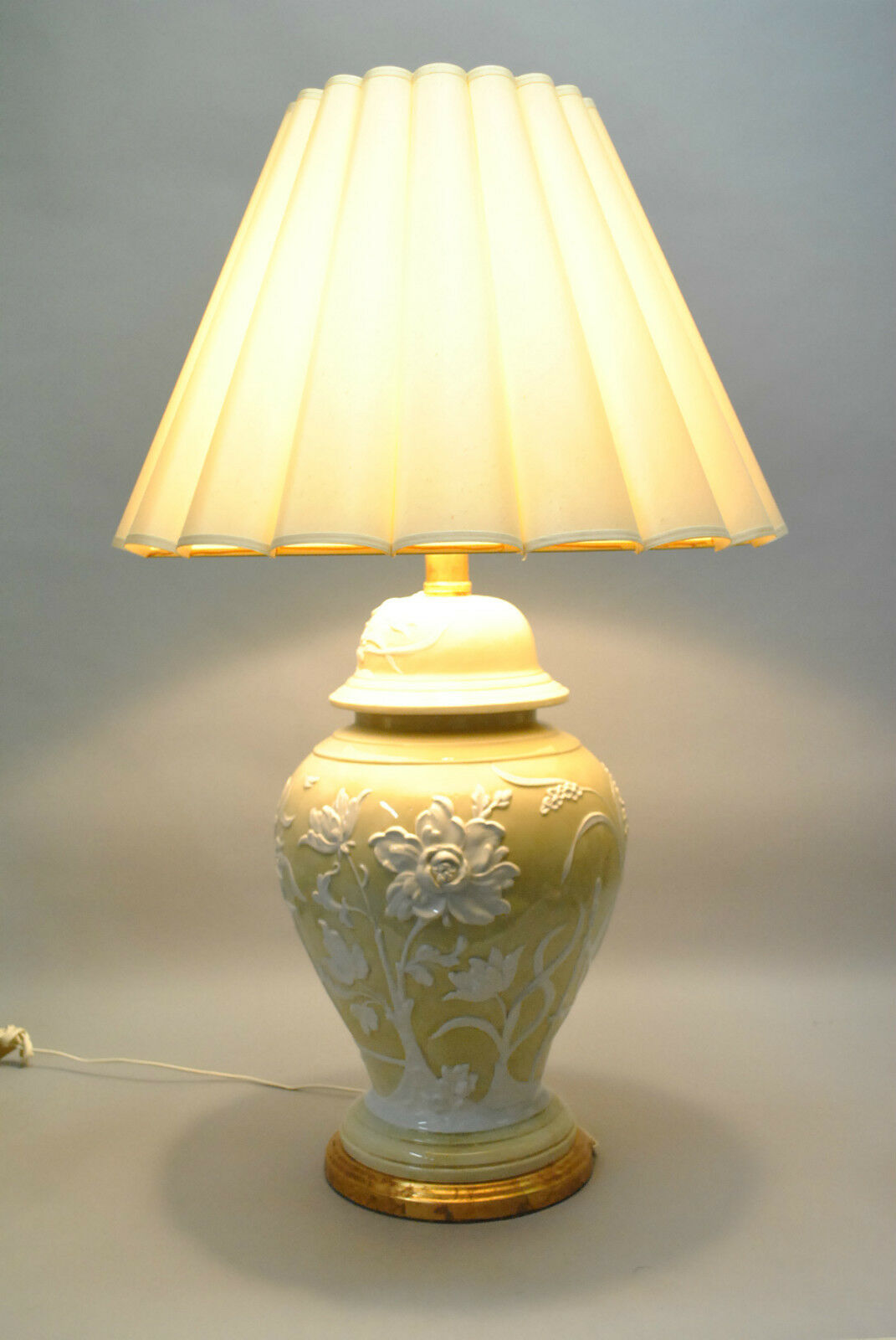 Vintage Oversized Ceramic Lamp In Pale Gold With Raised