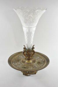 Antique-Victorian-Compote-Etched-Cut-Gass-Cast-Bronze-Lion-Heads-Angels-1880s-263654167477-2