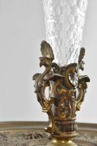Antique-Victorian-Compote-Etched-Cut-Gass-Cast-Bronze-Lion-Heads-Angels-1880s-263654167477-3