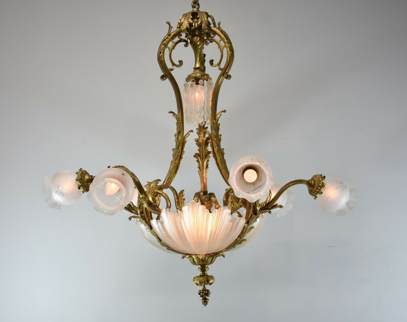 Turn Of The Century Bronze Rococo Style Six Arm Chandelier Light Fixture
