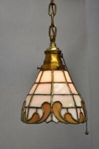 Antique-Leaded-Slag-Glass-Brass-Single-Socket-Porch-Hall-Pendant-263400715988-4