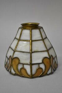 Antique-Leaded-Slag-Glass-Brass-Single-Socket-Porch-Hall-Pendant-263400715988-8