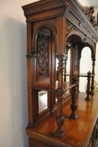 Antique-Renaissance-Revival-Walnut-Buffet-Carved-Details-Beveled-Glass-1890s-263359464358-10