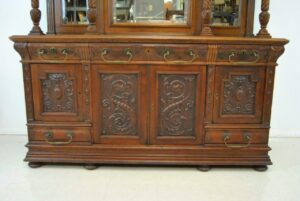 Antique-Renaissance-Revival-Walnut-Buffet-Carved-Details-Beveled-Glass-1890s-263359464358-2