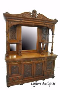 Antique-Renaissance-Revival-Walnut-Buffet-Carved-Details-Beveled-Glass-1890s-263359464358