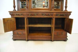 Antique-Renaissance-Revival-Walnut-Buffet-Carved-Details-Beveled-Glass-1890s-263359464358-3
